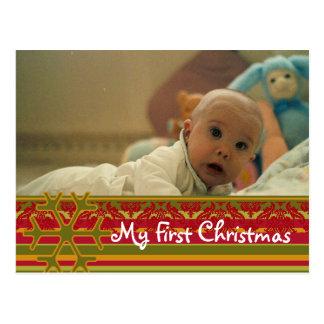 Stripes Damask My First Christmas Photo Postcard