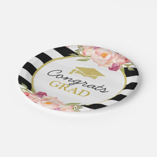 Stripes Floral Gold Congrats Grad Graduation Party Paper Plate