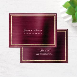 Stripes Framed Minimal Metallic Burgundy Maroon Business Card