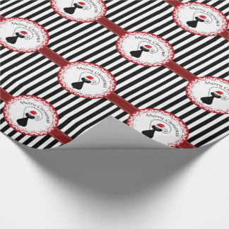Stripes funny whimsical Santa cat Christmas Wrapping Paper