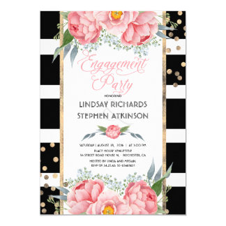 Stripes Gold Confetti Pink Floral Engagement Party Card