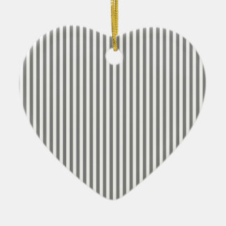 Stripes - Gray and Light Gray Ceramic Heart Decoration