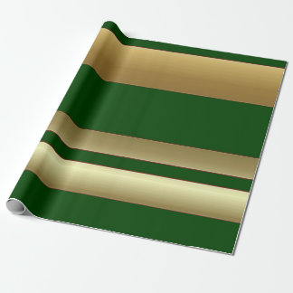 Stripes Green and Golden Wrapping Paper