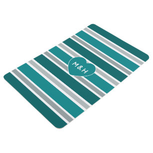 Stripes & Heart custom monogram floor mat