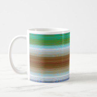 Stripes horizontal brown basic white mug