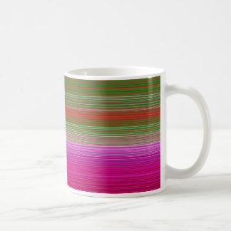 Stripes horizontal fuksia basic white mug
