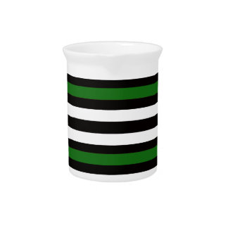 Stripes Horizontal Green Black White Pitcher