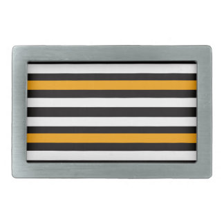 Stripes Horizontal Orange Black White Belt Buckle