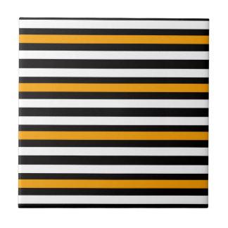 Stripes Horizontal Orange Black White Ceramic Tile