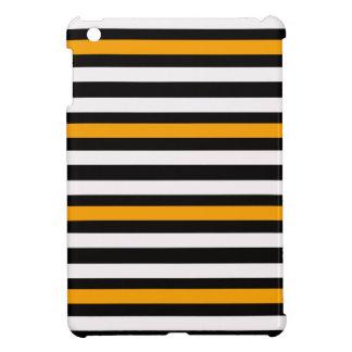 Stripes Horizontal Orange Black White iPad Mini Covers