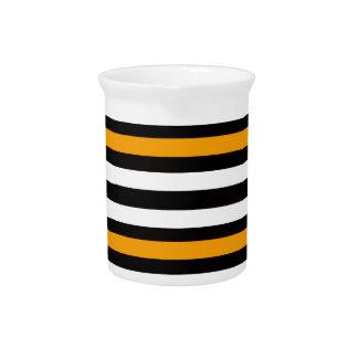Stripes Horizontal Orange Black White Pitcher