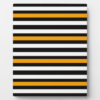 Stripes Horizontal Orange Black White Plaque