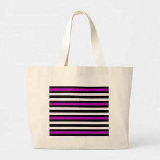Stripes Horizontal Purple Black White Large Tote Bag