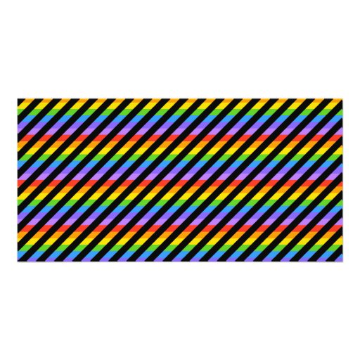 Stripes in Black and Rainbow Colors. Photo Greeting Card