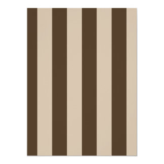 "Stripes - Light Brown and Dark Brown 6.5"" X 8.75"" Invitation Card"