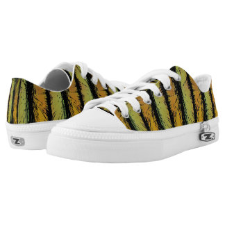 Stripes. Light Green Orange Zebra Pattern Low Tops
