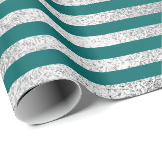 Stripes Lines Deep Teal Green Blue Silver Vip