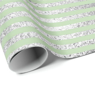 Stripes Lines Mint Green Green Pastel Silver Vip Wrapping Paper