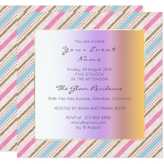 Stripes Lines Pink Blue Gold Antoinette Pastel Card
