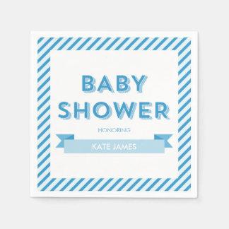 Stripes Modern Blue Baby Shower Paper Napkins