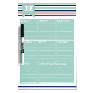 Stripes Monogram Weekly Calendar Dry Erase Board
