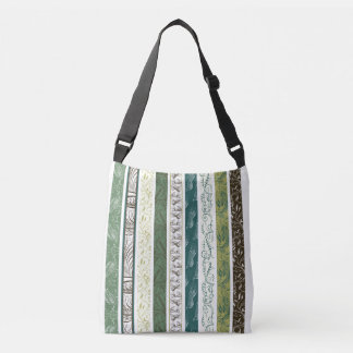Stripes of Decorative Patterns in Green Crossbody Bag