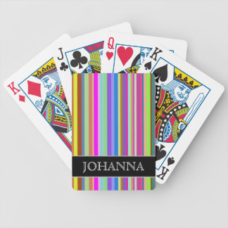Stripes of Various Colors + Custom Name Bicycle Playing Cards