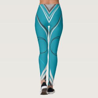 Stripes on Dark on Turquoise #2 Leggings