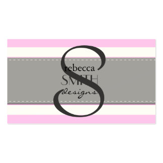 Stripes (Parallel Lines) - Pink White Business Card Templates