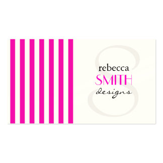 Stripes (Parallel Lines) - Pink White Business Card