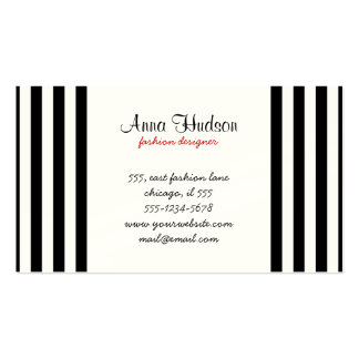 Stripes (Parallel Lines) - White Black Business Card Templates