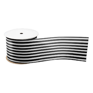 Stripes (Parallel Lines) - White Black Satin Ribbon