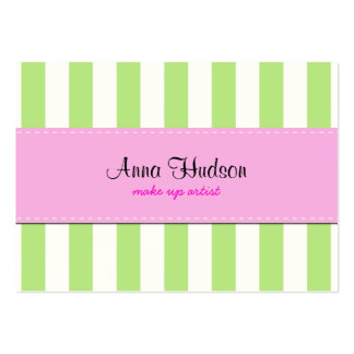 Stripes (Parallel Lines) - White Green Pink Business Card Template