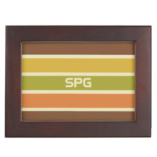 Stripes Pattern custom monogram keepsake box