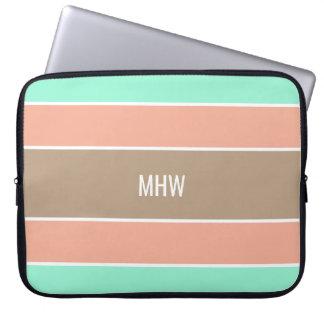 Stripes Pattern custom monogram laptop sleeves