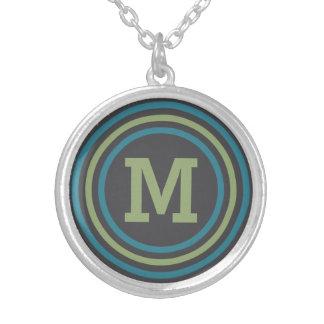 Stripes Pattern custom monogram necklace Round Pendant Necklace