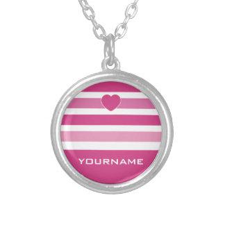 Stripes Pattern custom monogram necklace
