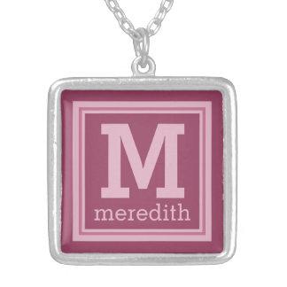 Stripes Pattern custom monogram necklace Square Pendant Necklace