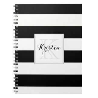 Stripes pattern with monogram - Black and white Notebook