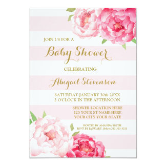 Stripes Pink Blush Watercolor Flowers Baby Shower Card