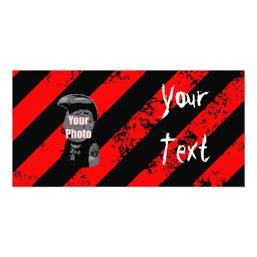 Stripes Punk/Anarchist cracked Photo Card Template