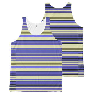 Stripes - Purple Blue Yellow Green All-Over Print Singlet