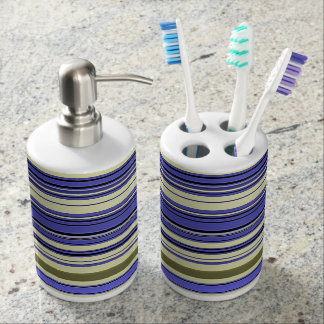 Stripes - Purple Blue Yellow Green Soap Dispenser And Toothbrush Holder