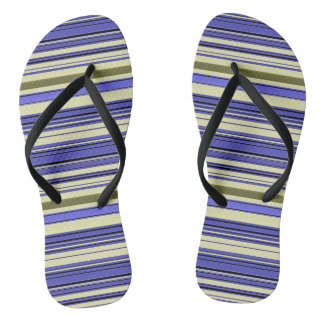 Stripes - Purple Blue Yellow Green Thongs