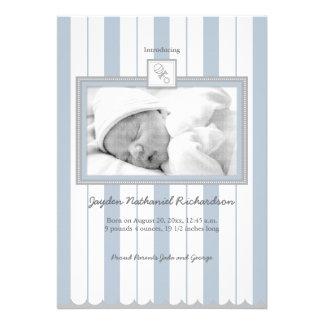 Stripes Rattle Baby Announcement Blue