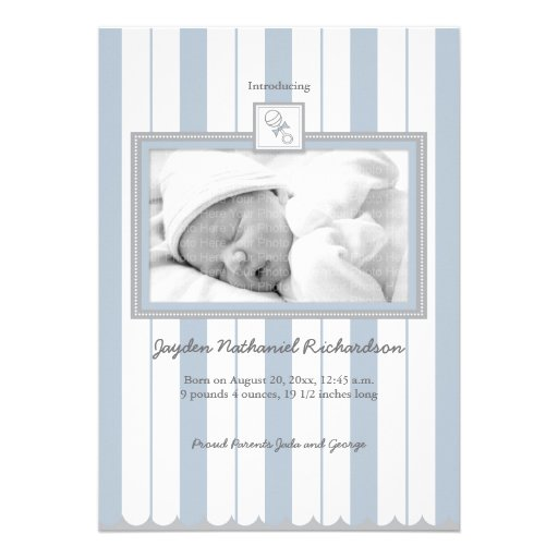 Stripes & Rattle Baby Announcement: Blue