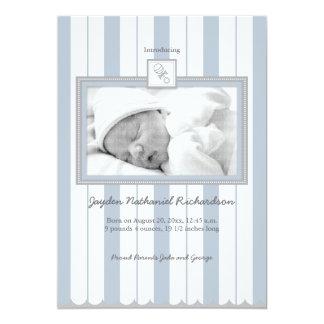 Stripes & Rattle Baby Announcement: Blue 13 Cm X 18 Cm Invitation Card