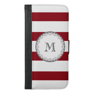 Stripes red and white Cute trendy girly monogram iPhone 6/6s Plus Wallet Case