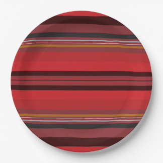 Stripes - Red Horizon Paper Plate