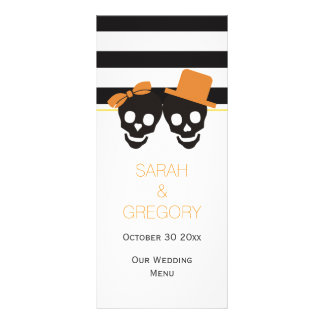 Stripes, skull couple Halloween wedding menu card Custom Rack Card